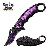 Smol Store Spring Assisted Tactical 8 Pocket Karambi knife knives Dragon Flames PURP A051PE
