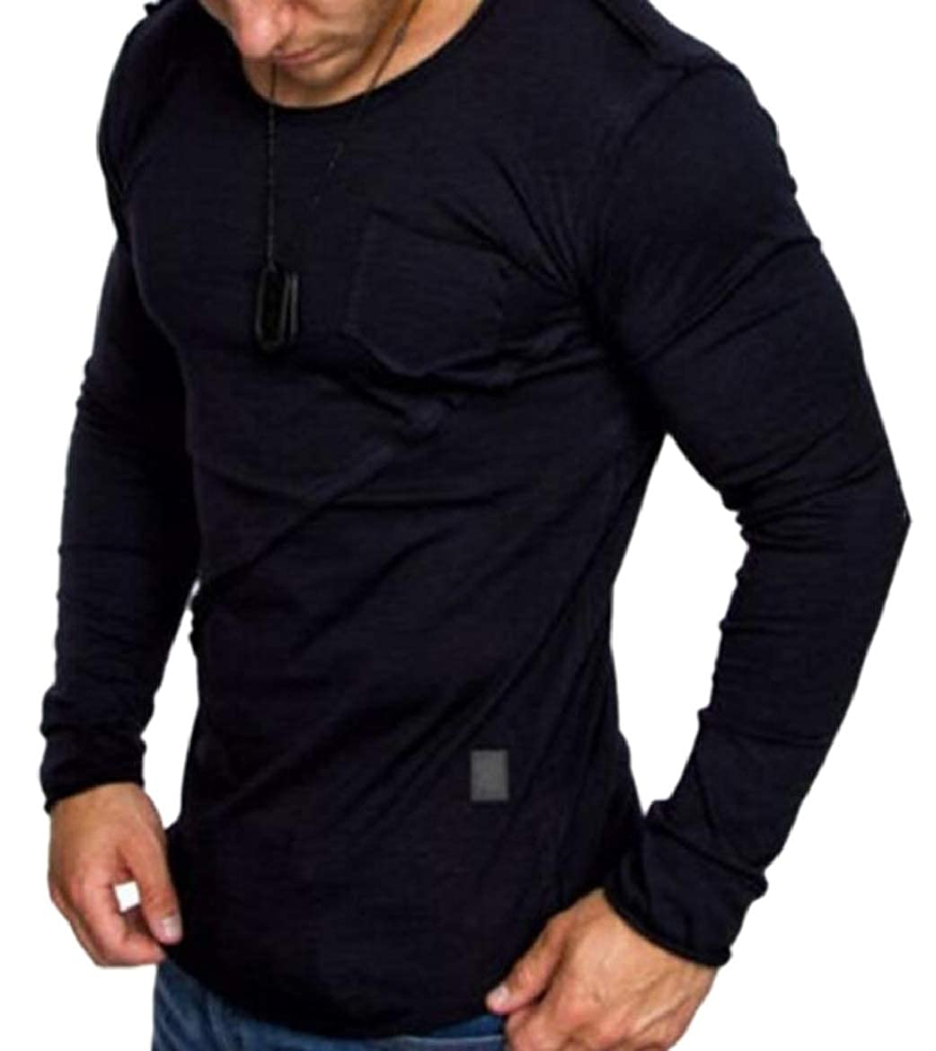 HTOOHTOOH Mens Splicing Tops Loose Fit Long Sleve Pullover Pure Color Casual Tees Top
