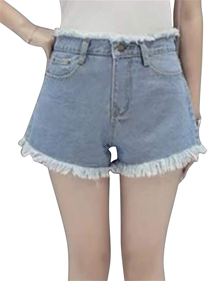KLJR Women Fashion Slim Cutoff High Rise Summer Denim Shorts Jeans