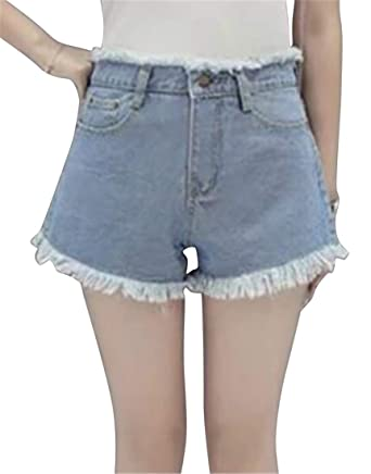 a39b0fc6454342 X-Future Womens High Rise Slim Fit Cut Off Summer Stylish Denim Shorts Jeans  Hot Pants at Amazon Women s Clothing store