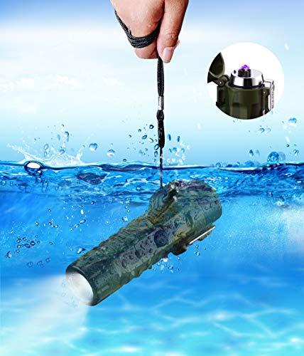 Waterproof Arc Lighter USB Plasma Lighter Rechargeable Electric Plasma Lighter Waterproof with Flashlight Flameless Lighter for Outdoor Camping Hiking (F12) ()