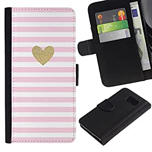 Samsung Galaxy S6 / SM-G920 Modelo colorido cuero carpeta tirón caso cubierta piel Holster Funda protección - Heart Gold Glitter Pink White Love Valentines