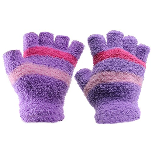 Eforstore Fingerless Gloves USB 2.0 Heated Stripe Design Winter Warm Plush Laptop Mittens Hand Warmer for Women Teen Girls