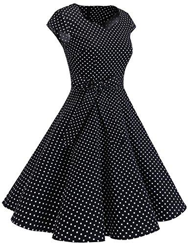 Dresstells Rétro Des Années 1950 Robes De Cocktail Robe Swing Vintage Avec Mancherons Noir Petit Point Blanc