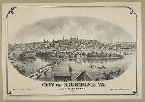 Photo: City of Richmond,VA - from Manchester,1876,Virginia,bridge,ships,buildings