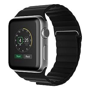 Apple-Watch, EKEVIS para correa de cuero con cierre magnético único Replacement Strap Band ninguna hebilla necesarias para Apple Watch 38 mm () negro