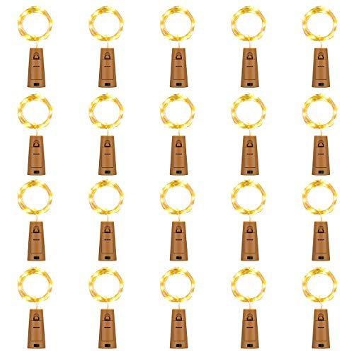 OASO 20 Pack 20 Led Wine Bottle Lights with Cork,3.3Ft Silver Wire Warm White Cork Lights Battery Operated Fairy Mini String Lights for Wine Liquor Bottles Wedding Party Table Decor