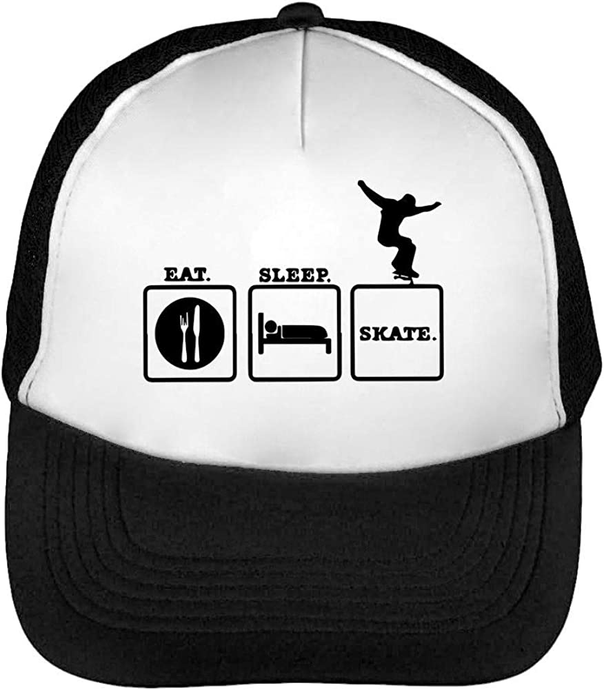 Eat Sleep Skate Routine Gorras Hombre Snapback Beisbol Negro ...