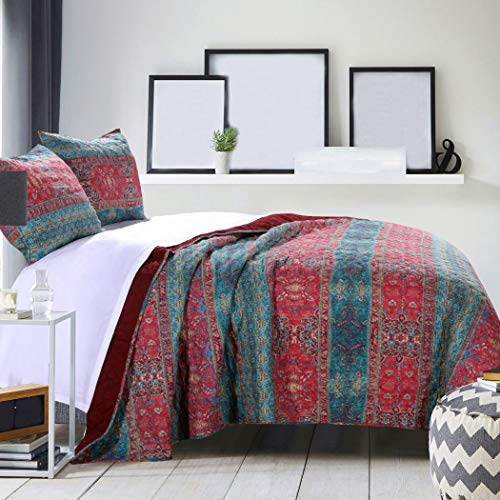 3 Piece Red Blue Damask Stripes Pattern Quilt Full Queen Set, Elegant Rich Bohemian Motif Texture Design, Solid Rosewood Oversize Reverse Bedding, Traditional Style, Cotton, Microfiber, Polyester ()