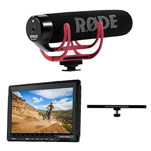 "7"" Field Monitor + Rode VideoMic GO On-Camera Microphone + 8"" Flash Bracket for Canon Nikon Panasonic DSLR Mirrorless Camera by Cam Caddie & RODE"