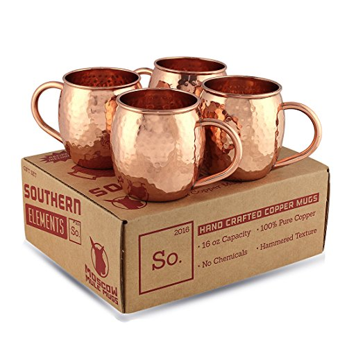Handcrafted 100% Pure Copper Mug Gift Set for Moscow Mules (4 Pack). Includes Bonus Recipe Booklet