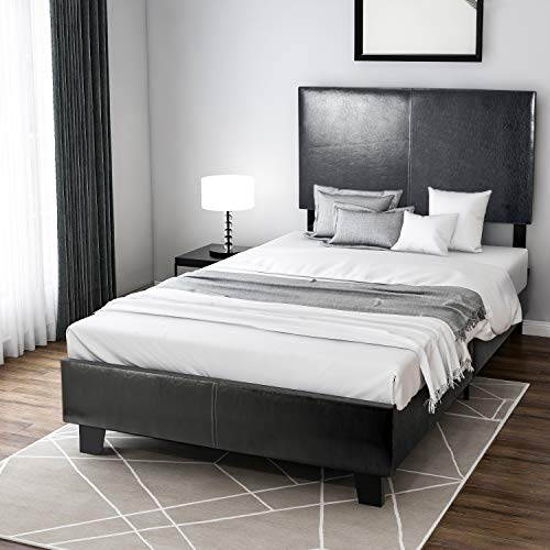 Platform Bed Metal Bed Frame with Headboard and Wooden Slats, Twin Dark Oak Panel Bed