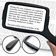 MagniPros Jumbo Size Magnifying Glass Wide Horizontal Lens(3X Magnification)- Shockproof Housing & Scratch