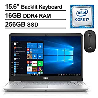 2020 Dell Inspiron 15 5584 15.6 Inch FHD 1080P Laptop (Intel 4-Core i7-8565U up to 4.6GHz, 16GB RAM, 256GB SSD, Backlit KB, WiFi, Win10, Silver) + NexiGo Wireless Mouse Bundle (Renewed)