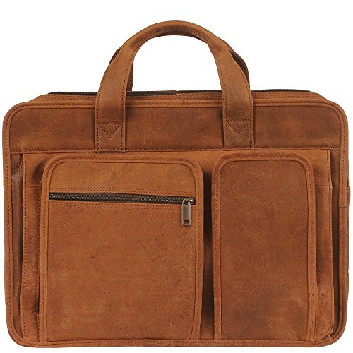 Leather Gusset Card Case (Wilsons Leather Mens Vintage Triple Gusset Leather Brief Cognac)