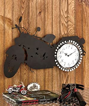 Motorcycle Wall Clock Die-cut Silhouette