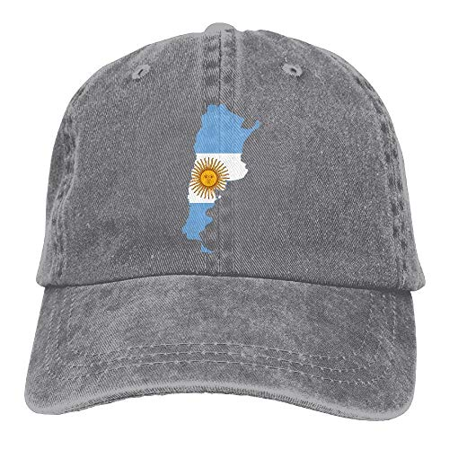 Flag Map Of Argentina Adjustable Cotton Cap Ash