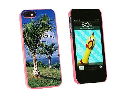 Graphics and More Tropical Deserted Island Palm Trees Snap-On Hard Protective Case for iPhone 5/5s - Non-Retail Packaging - Pink