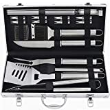 POLIGO 20pcs Barbecue Grill Utensils Kit Stainless Steel BBQ Grill Tools Set - Premium Camping Grill Accessories in Aluminum Case for Men - Ideal Outdoor Grilling Gifts Set for Birthday Christmas