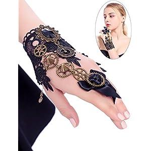 Thunaraz Lace Bracelet Gothic Lolita Retro Slave Bracelet Wristband Ring Costume Jewelry