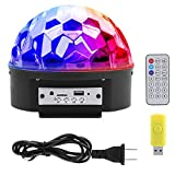 Bluetooth 9 Colors Rotating Disco Ball Light DJ Dance Light, Remote Control USB TF Card Sound-activated Stage Light Projector for KTV Karaoke Wedding Xmas Party Lighting Show Club Pub