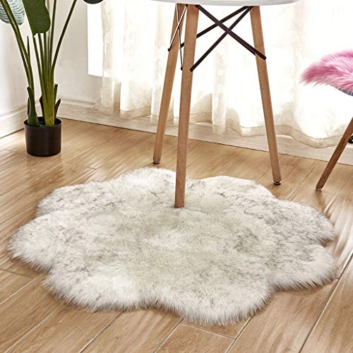 vmree Super Soft Wool-Like Faux Fur Area Rug Fluffy Antiskid Flower Shaped Warm Carpet Mat Baby Nursery Playmat Elegant Living Room Bedroom Hallway Home Office Decor (Beige, 3×3 Ft.)