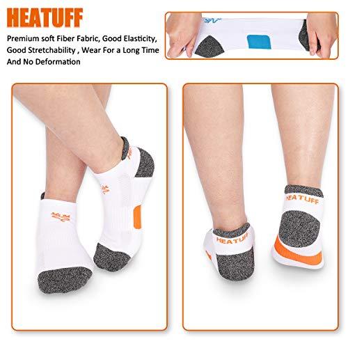 Heatuff Women's Performance Athletic Ankle Socks - Low Cut Cushioned Sock with Heel Tab (6 & 12 Packs)