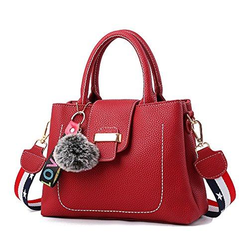 RENHONG Bola De Pelo PU De Las Señoras Bolso De Cuero Bolso Messenger Elegante Colgante Negro Púrpura Amarillo Rojo,Black-29*12*21cm Red