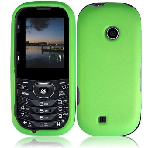 Hard Rubberized Phone (For LG Cosmos 3 VN251S Cosmos 2 VN251 Rubberized Hard Cover Case Neon Green)