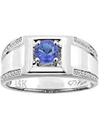 14K White Gold Natural Tanzanite Men's Ring Diamond Accented 3/8 inch wide, sizes 9 - 14