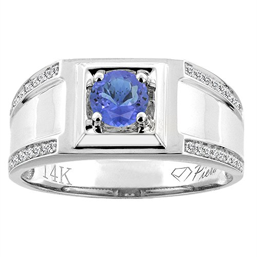 14K White Gold Natural Tanzanite Men's Ring Diamond Accented 3/8 inch wide, size 10 by Silver City Jewelry (Image #5)