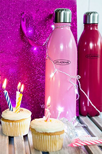 Water Bottle Stainless Steel. ATLASWARE Thermoses/Flask. Double Wall Vacuum Insulated, Wide Mouth. Pink, 16oz Double Wall Vacuum. Thermos Techology (Sold as Singles) (Thermos Mouth Wide Vacuum)