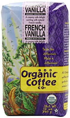 The Organic Coffee Company Whole Bean Coffee, French Vanilla, 12 Ounce