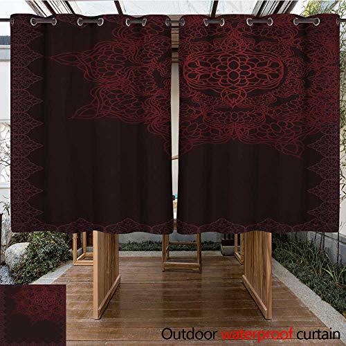 RenteriaDecor 0utdoor Curtains for Patio Waterproof Ottoman Pattern Background W55 x L72