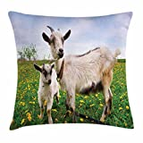 Goat Throw Pillow Cushion Cover, Mama Goat and