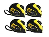 4 Items JH-576 Professional Self-lock 16-Foot by 3/4-Inch Measure Tape Yellow/Black Two Pause Buttons
