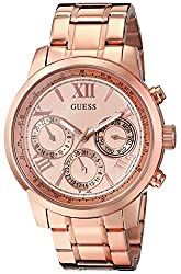 Guess Women's U0330l2 Sporty Rose Gold-tone Stainless Steel Watch With Multi-function Dial & Pilot Buckle