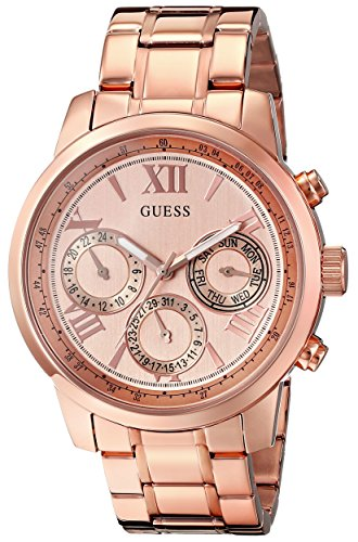 GUESS Women's U0330L2 Sporty Rose Gold-Tone Stainless Steel Watch with Multi-function Dial and Pilot Buckle (Guess Watch Women Rose Gold)
