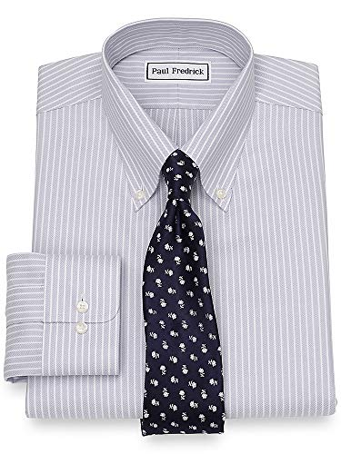 Paul Fredrick Men's Non-Iron Cotton Herringbone Button Cuff Dress Shirt Grey 16.5/33