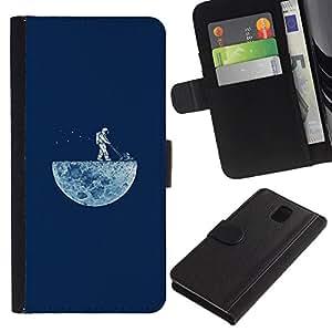YiPhone /// Tirón de la caja Cartera de cuero con ranuras para tarjetas - DIVERTIDO LAWNING LA LUNA - Samsung Galaxy Note 3 III