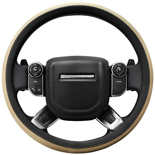 (SEG Direct Microfiber Leather Beige Steering Wheel Cover for F-150 Tundra Range Rover 15.5