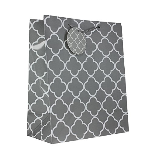 12-PC Quarterfoil Gift Bags, Gloss Laminated, Grey, Large -