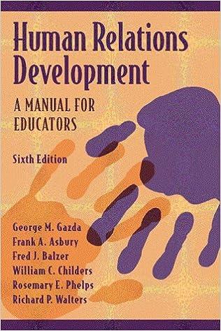 6th Edition A Manual for Educators Human Relations Development
