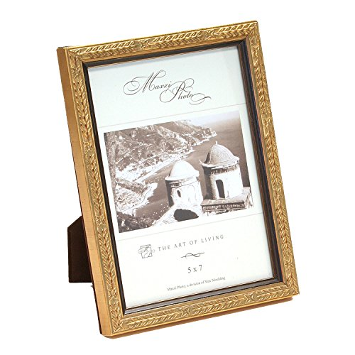 (Maxxi Designs Photo Frame with Easel Back, 8 x 10, Wood Antique Gold Leaf San Marco )