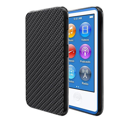 Ipod Carbon Fiber Skin - FINCIBO iPod Nano 7 Case, Flexible TPU Black Silicone Soft Gel Skin Protector Cover Case For Apple iPod Nano 7 (7th Generation) - Black Carbon Fiber