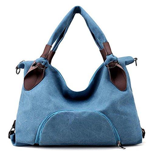 highsale Damen Mädchen Mode Große Leinwand Handtasche Canvas Schultertasche Umhängetasche Shopper,50cm*13cm*35cm,Blau