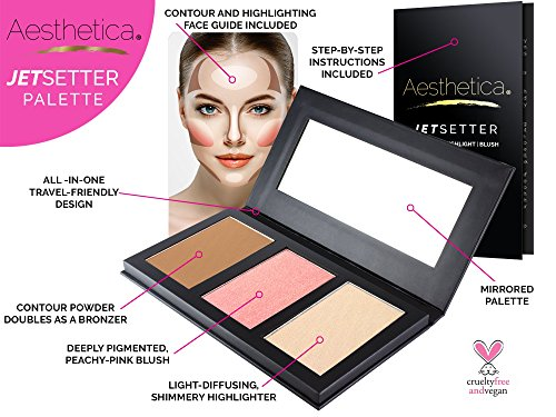 Aesthetica JetSetter Palette - All in One Highlighter, Blush and Contour Kit - Fair to Medium Skin Tones by Aesthetica (Image #1)