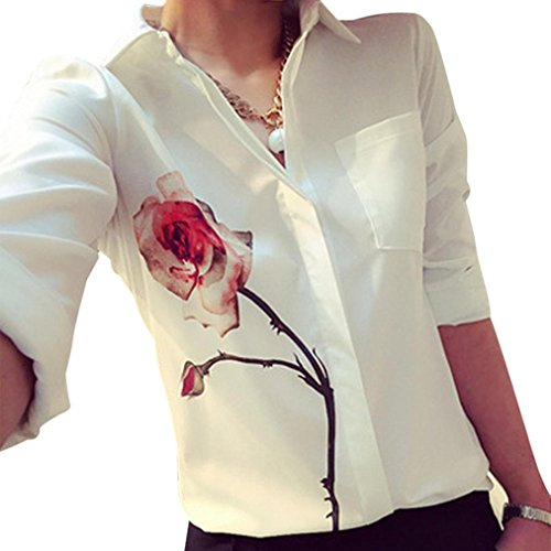 FAPIZI ♥ Women Blouse ♥ Women Long Sleeve Rose Flower Blouse Turn Down Collar Chiffon Shirts (S, White)