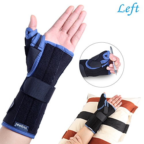 Cast Aluminum Body - Wrist Brace with Thumb Spica Splint Support for De Quervain's, Scaphoid Fracture, Sprain or Muscle Strain, Carpal Tunnel Syndrome, Pain Relief, Injury Recovery for Men & Women (Left Hand-Small)