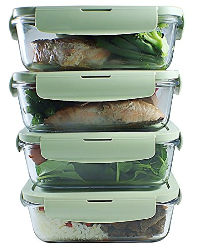 Glass Meal Prep Containers (4-Packs) Portion Control | BPA-FREE, Airtight Leakproof Food Storage Containers | Air Vent Lids Lunch Containers | Freezer, Oven, Microwave Safe, 1 Compartment (28 oz) - Vented System Box